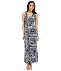 Mod O Doc Patchwork Tiles Printed Rayon Spandex Jersey Shoulder Twist Maxi Dress Inkwell Women's Dress Gray