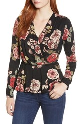 Bobeau Long Sleeve Faux Wrap Knit Top Black Rose Print
