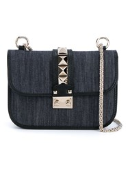 Valentino Garavani 'Glam Lock' Denim Shoulder Bag Blue