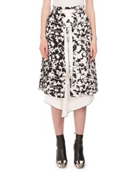 Proenza Schouler Layered Floral Print Lace Up Skirt Black White Black Patterned