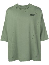 Unravel Project Holey T Shirt Green