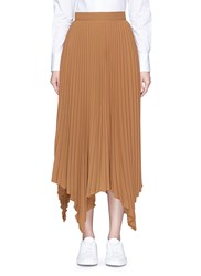 Comme Moi Handkerchief Hem Pleated Maxi Skirt Brown