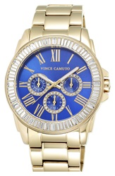 Vince Camuto Crystal Bezel Multifunction Bracelet Watch 51Mm Gold Blue