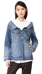 Robert Rodriguez Denim Long Jacket Medium Distressed Wash