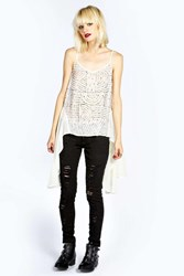 Boohoo Leanne Sequin Front Cami Ivory