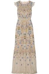 Needle And Thread Flowerbed Ruffle Trimmed Embroidered Tulle Gown Beige
