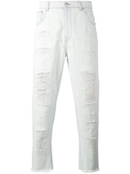 Versus Distressed Raw Edge Jeans Men Cotton Polyester 31 White