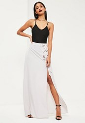 Missguided Grey Eyelet Detail Maxi Skirt Mauve