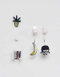 Monki Novelty 2 Pack Earrings And Ear Cuff Silver