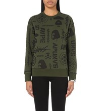 Aape By A Bathing Ape Graphic Print Jersey Sweatshirt Khaki