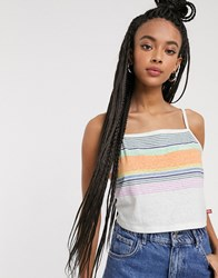 Dickies Girl Striped Crop Top With Logo White