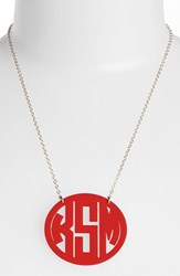 Women's Moon And Lola Large Oval Personalized Monogram Pendant Necklace Ruby Gold Nordstrom Exclusive