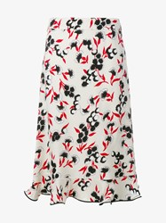 Marni Floral Print Frill A Line Skirt White Multi Coloured Black