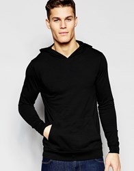 Asos Lightweight Jersey Extreme Muscle Hoodie In Black Black