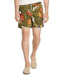 Polo Ralph Lauren Traveler Floral Print Swim Trunks Olive Tropical Floral