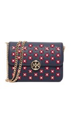 Tory Burch Duet Chain Embellished Shoulder Bag Royal Navy Cherry Apple