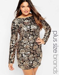 Club L Plus Size Dress In Floral Sequins Gold