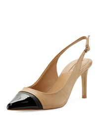 Elie Tahari Podium Cap Toe Slingback Pump Light Brown