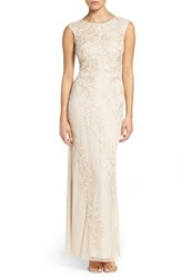 Aidan Mattox Women's Embroidered Mesh Gown