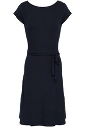 Majestic Filatures Woman Belted Stretch Jersey Dress Midnight Blue