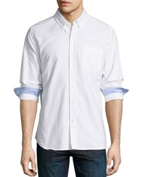 Ag Jeans Long Sleeve Cotton Oxford Shirt White