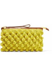 M Missoni Leather Trimmed Crocheted Cotton Blend Clutch Yellow