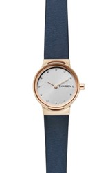 Skagen Freja Crystal Accent Leather Strap Watch 26Mm Blue White Rose Gold