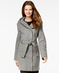 Calvin Klein Hooded Asymmetrical Herringbone Coat Grey Dotted