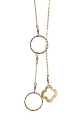 Charlene K 14K Gold Vermeil Hammered Clover Lariat Necklace Metallic