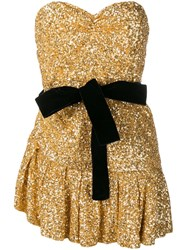Attico Sequined Mini Dress Gold