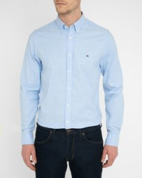 Tommy Hilfiger Sky Blue Logo Oxford Stretch Shirt