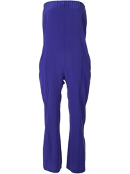Erika Cavallini Semi Couture Strapless Jumpsuit Blue