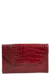 Halogen Angled Leather Day Clutch Red Red Croc
