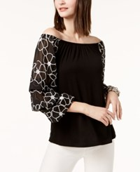 Inc International Concepts Embroidered Sleeve Off The Shoulder Top Created For Macy's Black