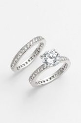 Ariella Collection Stackable Rings Set Of 2 Metallic