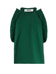 Msgm Ruffle Trimmed Sleeveless Cotton Top Green