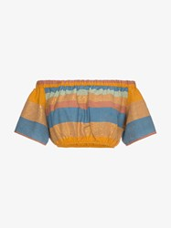 A Peace Treaty Striped Cotton And Silk Crop Top Yellow And Orange