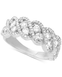 Macy's Diamond Twisted Band 1 1 2 Ct. T.W. In 14K White Gold