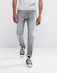 Bershka Skinny Jeans In Washed Grey Washed Grey Blue