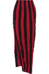 Juan Carlos Obando Striped Crinkled Silk Crepe De Chine Maxi Skirt Red