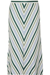 Tory Burch Villa Striped Satin Twill Midi Skirt Off White