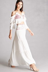 Forever 21 Embroidered Maxi Skirt White