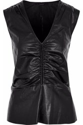 Belstaff Ruched Leather Top Black