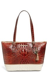 Brahmin 'Medium Asher' Lizard Embossed Tote Brown Pecan Gemini