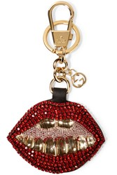 Gucci Crystal And Bead Embellished Leather Keychain Red