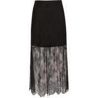 River Island Womens Petite Black Lace Maxi Skirt