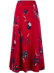 Dries Van Noten Floral Print Skirt Red