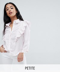 Noisy May Petite Ruffle Detail Striped Shirt Multi Pink