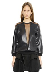 Christopher Kane Faux Leather Top With Mesh Inserts
