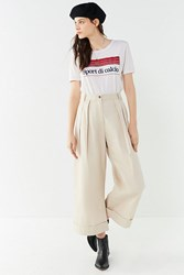 Urban Outfitters Uo Davie Wide Leg Pleated Chio Pant Neutral